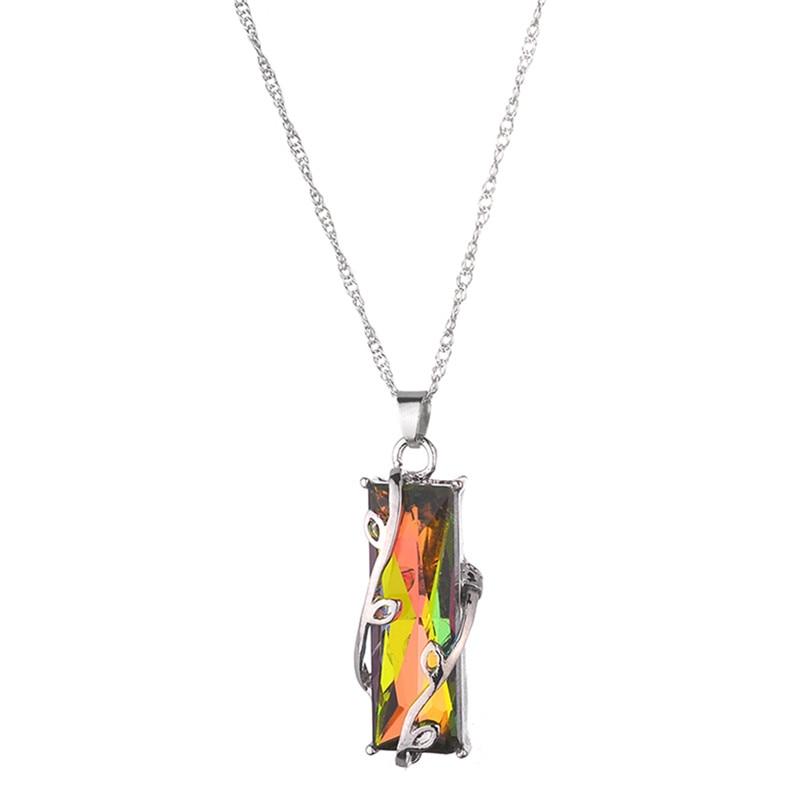 3.5cm * 1.5cm fogo natural arco-íris mystic colar charme sólido vintage moda feminina jóias