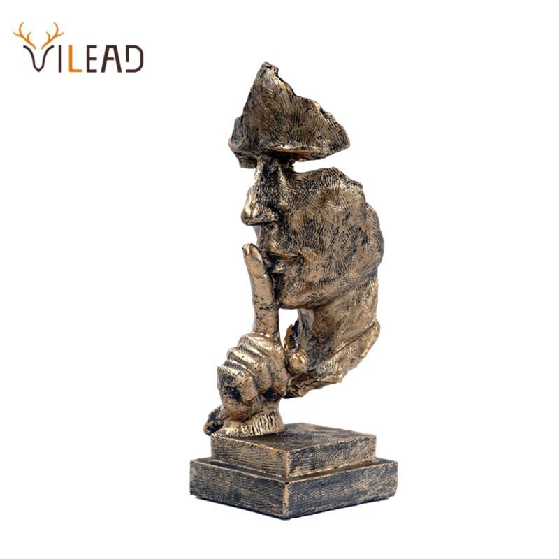 VILEAD-قناع ذهبي صامت من الراتنج ، 27 سنتيمتر ، تمثال نصفي ، زخرفة مجردة ، أشغال يدوية ، ديكور منزلي عتيق