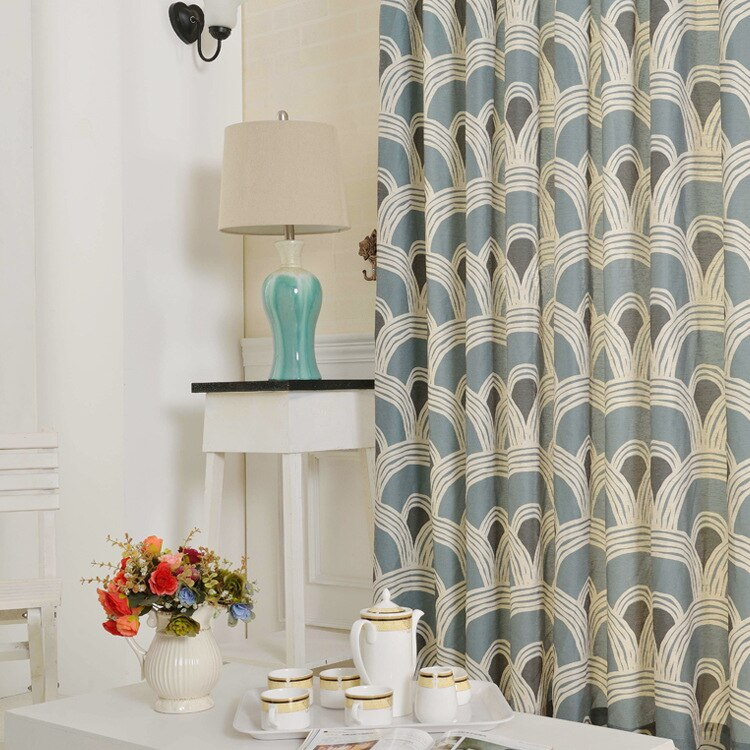 Simple and Modern European-style Curtain Cotton and Linen Printing Window Curtain for Living Room Bedroom French Window Curtains