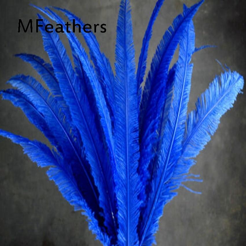 "MFeather 50 unids/lote pluma de avestruz teñida azul real para lámpara de artesanía plumaje decorativo de 50-55cm 20-22 ""de largo de plumas de avestruz de Carnaval"