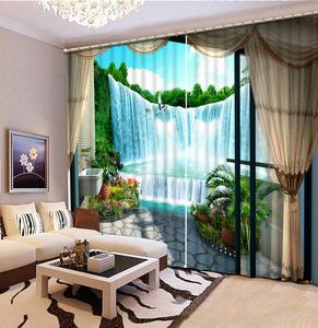 Modern Curtain waterfall landscape Curtains For Living Room Bedroom Decoration Window Door Blackout Drapes