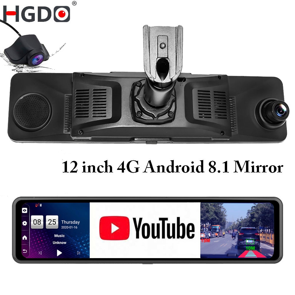 Видеорегистратор HGDO 12 ''камера в зеркале заднего вида на Android, 4G, ADAS, Wi-Fi, FHD 1080P двойной объектив