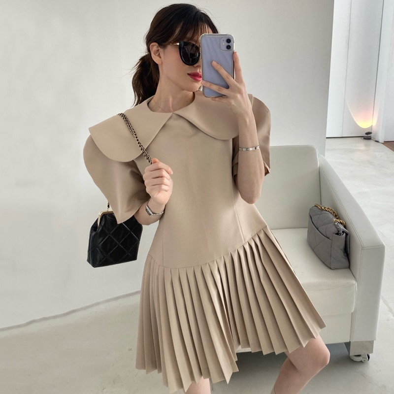 Korean Chic Summer French Dress Baby Collar Slim Waist Bubble Sleeve Small Dresses Patchwork Pleated