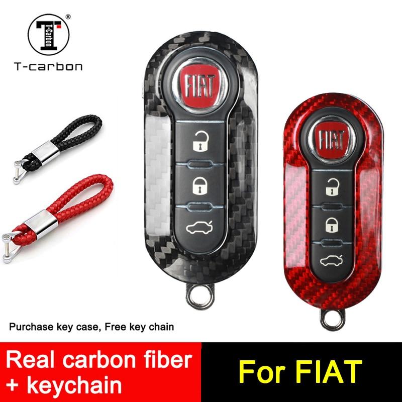Accesorios de coche de fibra de carbono para FIAT Key Case Cover Shell bag Freemont 500 500L Panda Punto Bravo 3 botones de plegado remoto