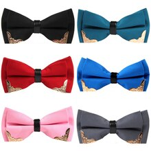 Ricnais Fashion Solid Color Metal corner Bow Tie Men For Business Wedding Party Gift Skinny Cravats
