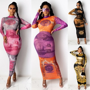 2021women's fashion long sleeve printed mid buttock slim sexy dress Free shipping The new listing