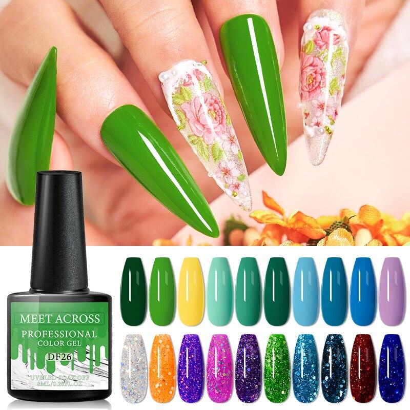 MEET ACROSS 10/4/2Pcs Gel Nail Polish Set Color Nail Gel Kit For Manicure Nail Polish Vernish Soak O