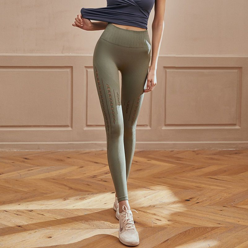 High-Waist Tight-Fitting Sports Pants Women Hip-Lifting Running Quick-Drying Stretch Breathable Mesh Yoga Fitness Trousers rogue s loli with the tight fitting high footed sweatpants female autumn quick drying running ankle length yoga trousers