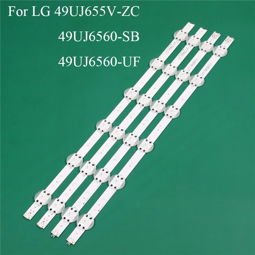 قطعة غيار لإضاءة تلفزيون LED ، شريط إضاءة خلفي LED ، مسطرة خط V1749L1 2862A ، لـ LG 49UJ655V-ZC 49UJ6560-SB 49UJ6560-UF