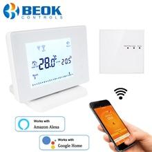 Termostato inteligente Wifi inalámbrico Beok para el controlador de temperatura ambiente del actuador de la caldera de Gas funciona con Google Home Alexa alimentado por USB