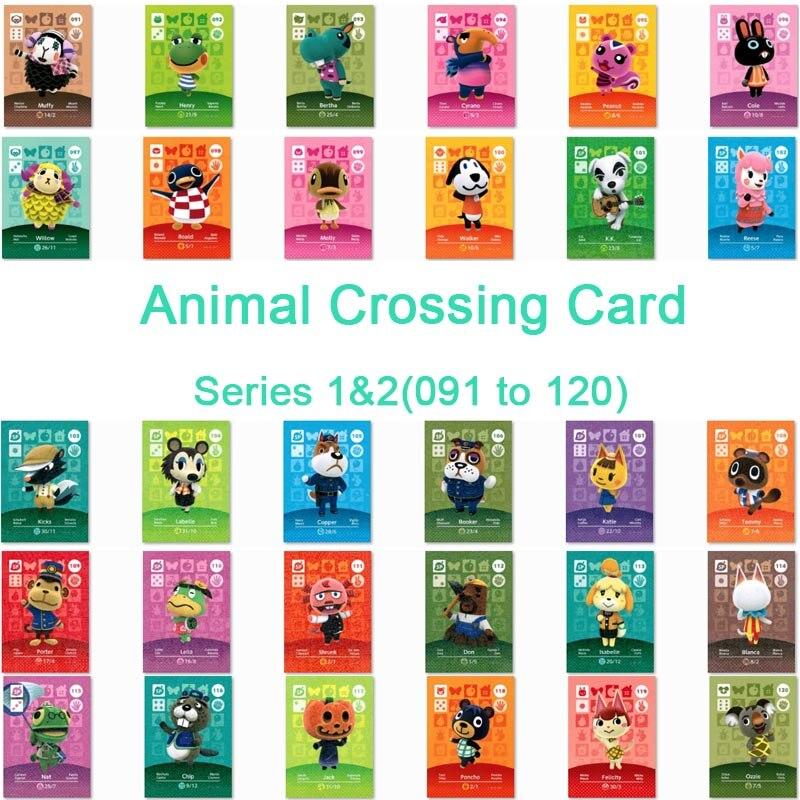 Tarjeta de cruce Animal Amiibo para juegos Ns serie 1 y Serie 2 pegatina de Cruce de Animales (091 a 120)
