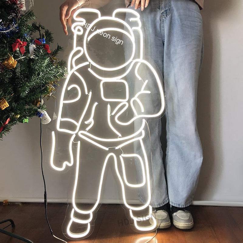 Personalizd Custom Waterproof Neon Sign Light logo Astronaut Led Flex Visual Artwork Bar Pub Club Wall Hanging Decoration