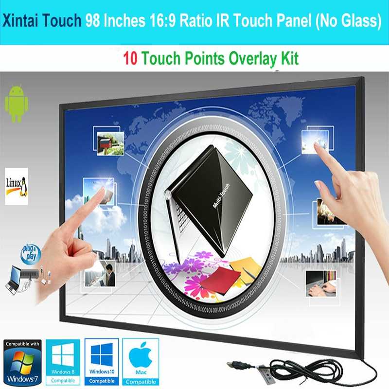 Xintai Touch  98 Inches 10 Touch Points 16:9 Ratio IR Touch Frame Panel/Touch Screen Overlay Kit Plug & Play (NO Glass)