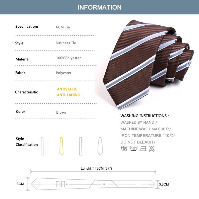 Brand New Classic Brown Striped 6CM Skinny Tie For Men Business Suit Work Necktie High Quality Fashion Formal Cravate Gift Box