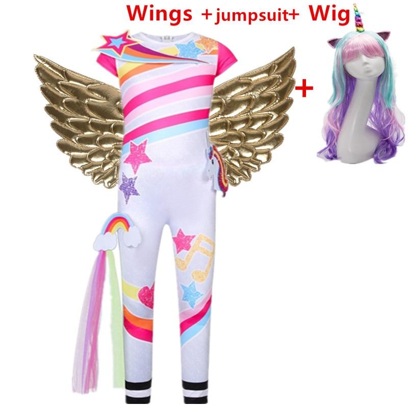 Niñas unicornio anime Cosplay disfraz niños monos Arco Iris ala ropa de fiesta de cumpleaños niños Halloween carnaval peluca para niña