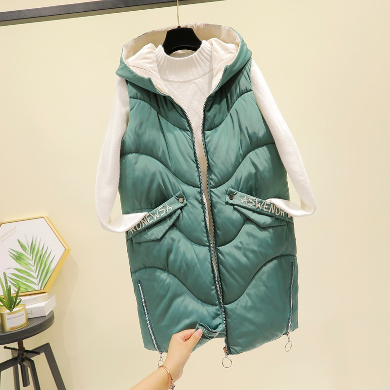 Dikke Warme Vrouwen Winter Vest 2020 Nieuwe Hooded Casual Lange Jas Vrouwelijke Mode Slanke Mouwloze Jas Plus Size Vest vrouwen