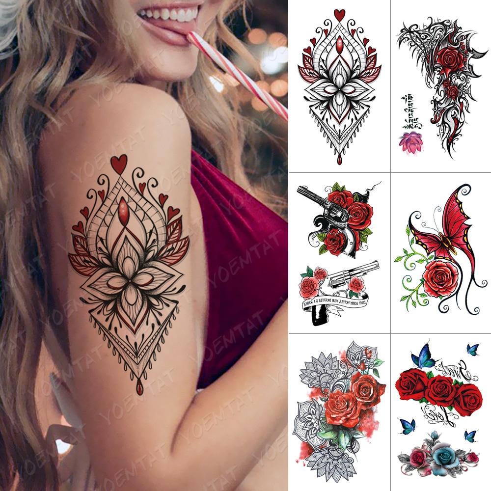 Calcomanía de tatuaje temporal a prueba de agua, tatuaje instantáneo con corazón rosa, mariposa, encaje, flor, arte corporal, Tatuaje falso de transferencia al agua de brazo para mujer
