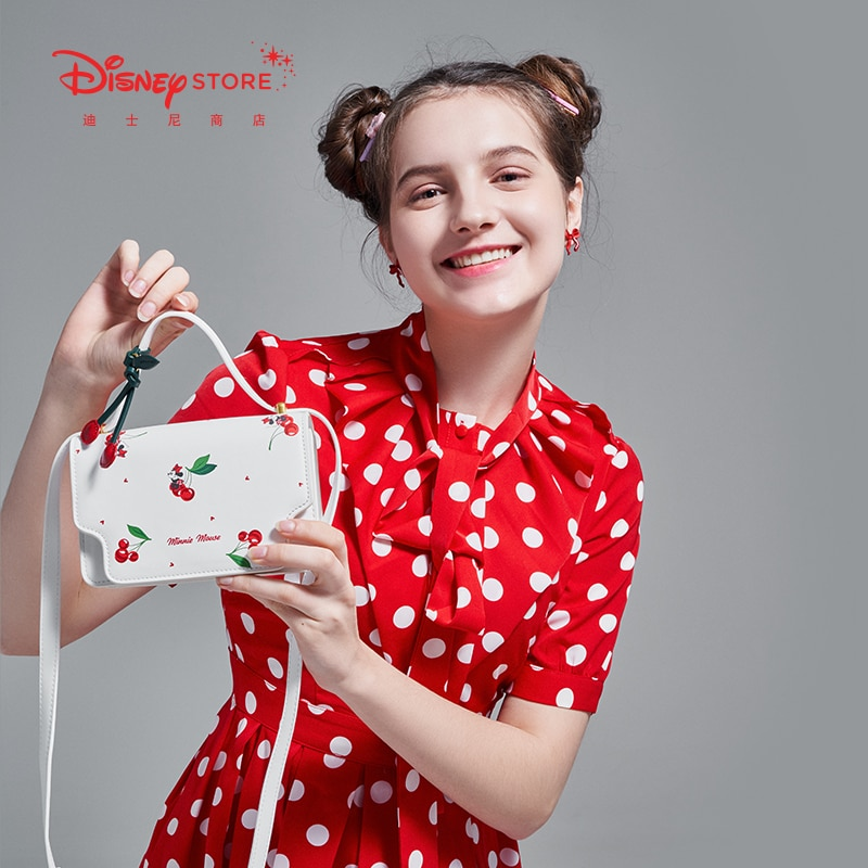 Authentic Disney Official Cherry Minnie Shoulder Bag Shoulder Bag Messenger Bag Handbag Girl Heart New Product