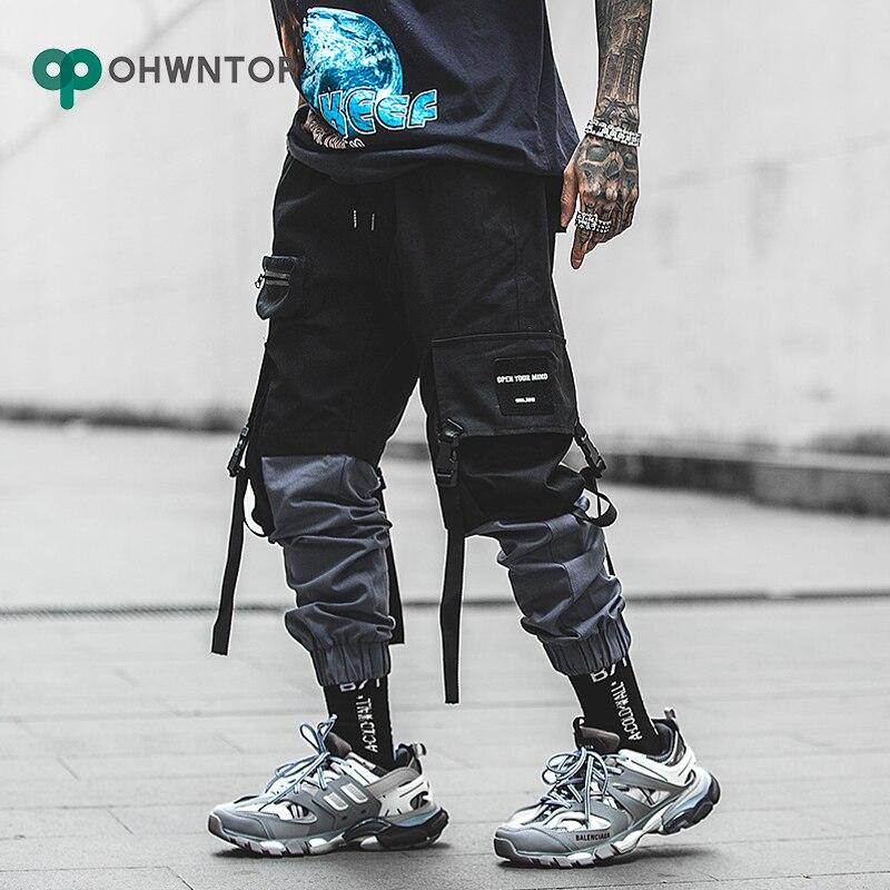 Moda Patchwork Cargo pantalones Streetwear Hip Hop Ribbons Joggers pantalones Hombres estilo japonés negro pantalones de chándal informales hombres Pantalones