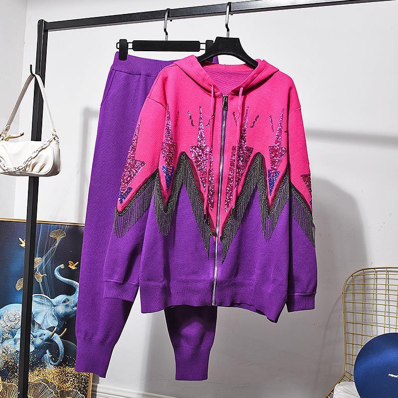 SuperAen 2021 Autumn New Sequin Bump Zipper Sweater Jacket Suit Slim Fashion Two Piece Set Women