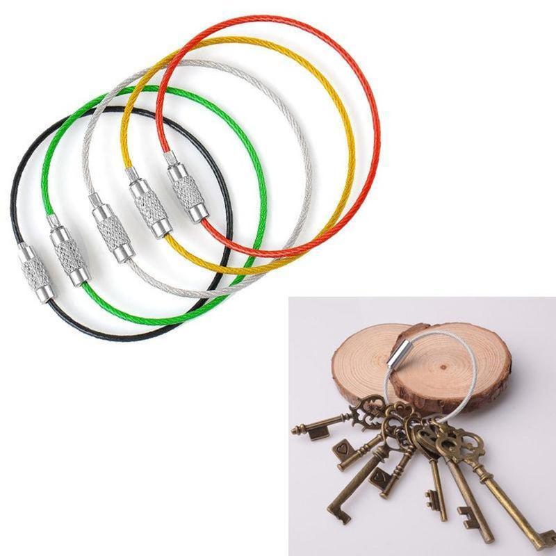 Llavero de alambre de acero en 5 colores, Llavero estilo cuerda, porta...