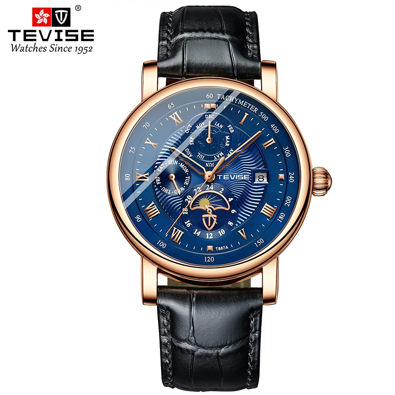 TEVISE Classic Unique Design Mens Retro Multifunction Watches Automatic Mechanical Watch Leather Wat