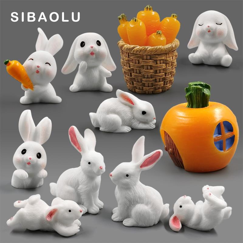 White Rabbit Christmas Easter Figurine Micro Landscape Aquarium Home Decor Miniature Fairy Garden Decoration Accessories Modern