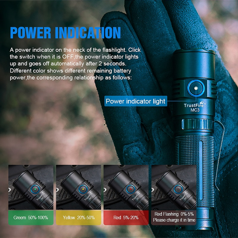 TrustFire MC3 EDC LED Flashlight 2500 Lumens Magnetic USB Rechargeable CREE XHP50 Torch Lamp Come With 21700 2500mah Battery enlarge