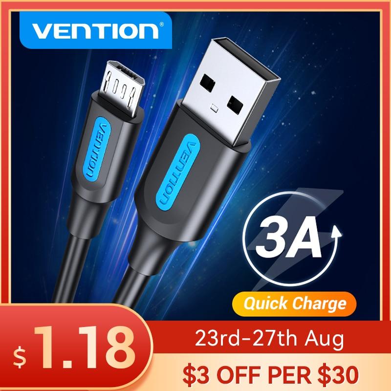 Vention-Cable Micro USB de carga rápida 3A, Cable de datos USB para...