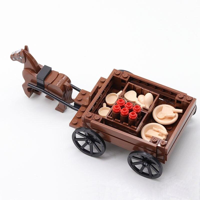 Конструктор MOC средневековые аксессуары фигурки солдат армейская сцена логистика каретка детские игрушки