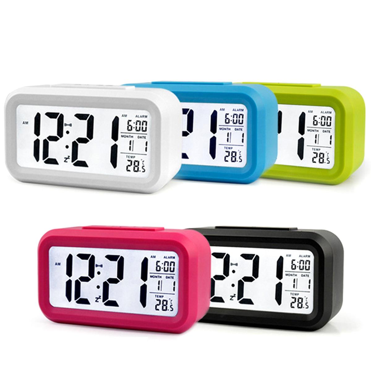 Reloj despertador electrónico LED para mesa de escritorio con pantalla de temperatura, luz de fondo, reloj calendario para el dormitorio de la oficina en casa