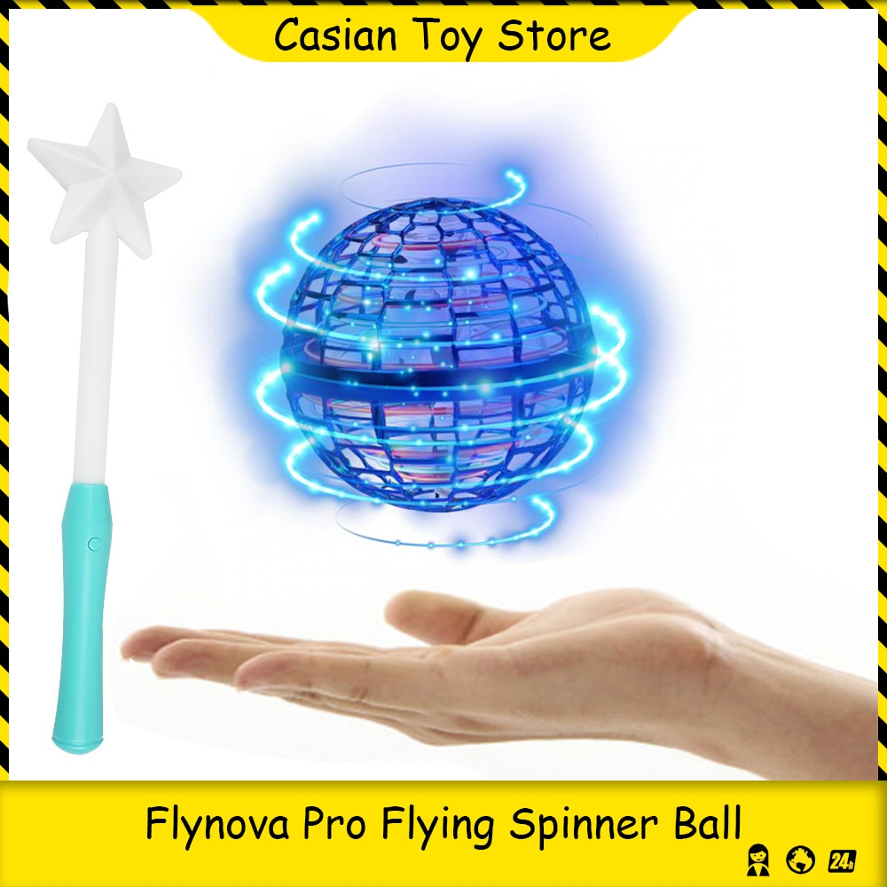 Flynova Pro Flying Spinner Ball UFO Boomerang Soaring Mini Drone Stress Release Hand Control with Fairy stick Toys for Kid Adult