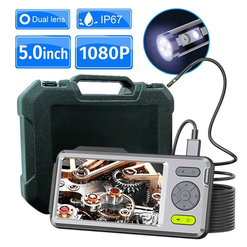 """Promo Endoscope Camera with 5"""" Screen 1080P Dual Lens Inspection Camera with LED IP67 Waterproof Snake Camera With Zoom 32GB TF Card"""