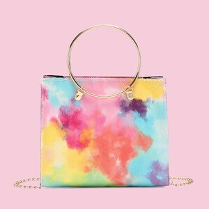 2021 Female Small Messenger Handbag Women Faux PU Colorful Bag Square Shoulder Bags Women Metal Handle Lady Mobile Phone Bag