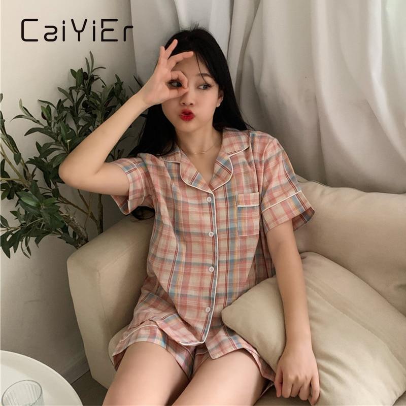 cayyier-sweet-pajama-women-nightwear-grid-stampato-summer-manica-corta-sleepwear-trendy-leisure-stile-coreano-shorts-homewear-suit