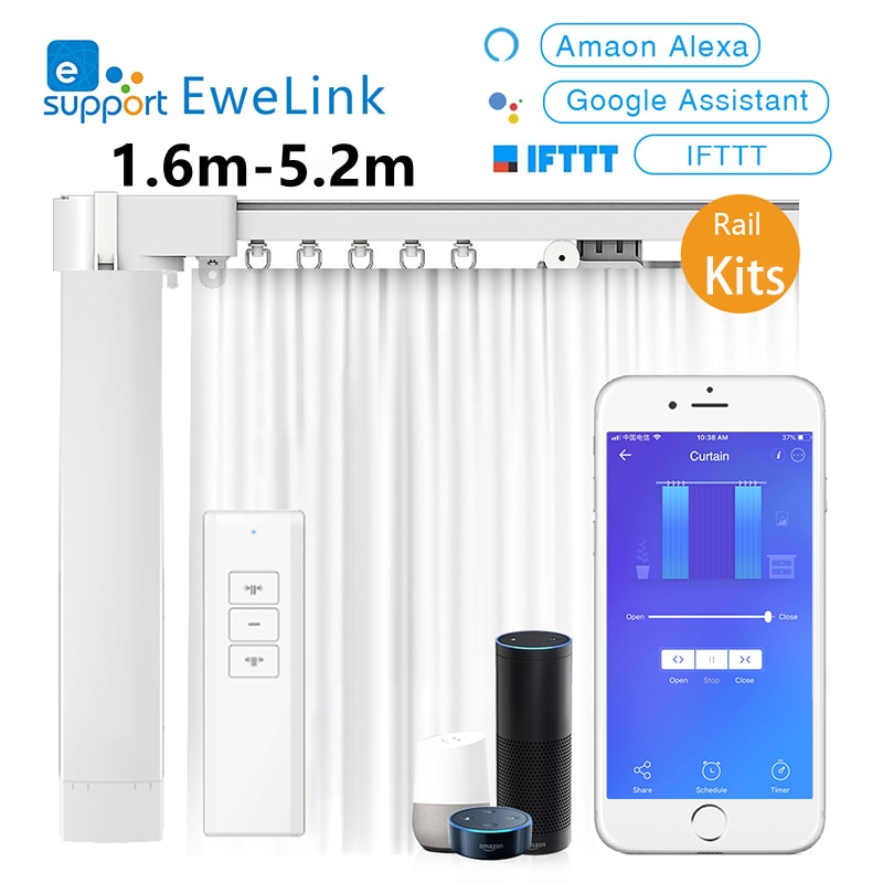 Review Ewelink Smart Motorized Wifi Curtain Motor With 1.6M -5.2M Electronic Curtain Rail Track Kits Remote Control Alexa Google Home