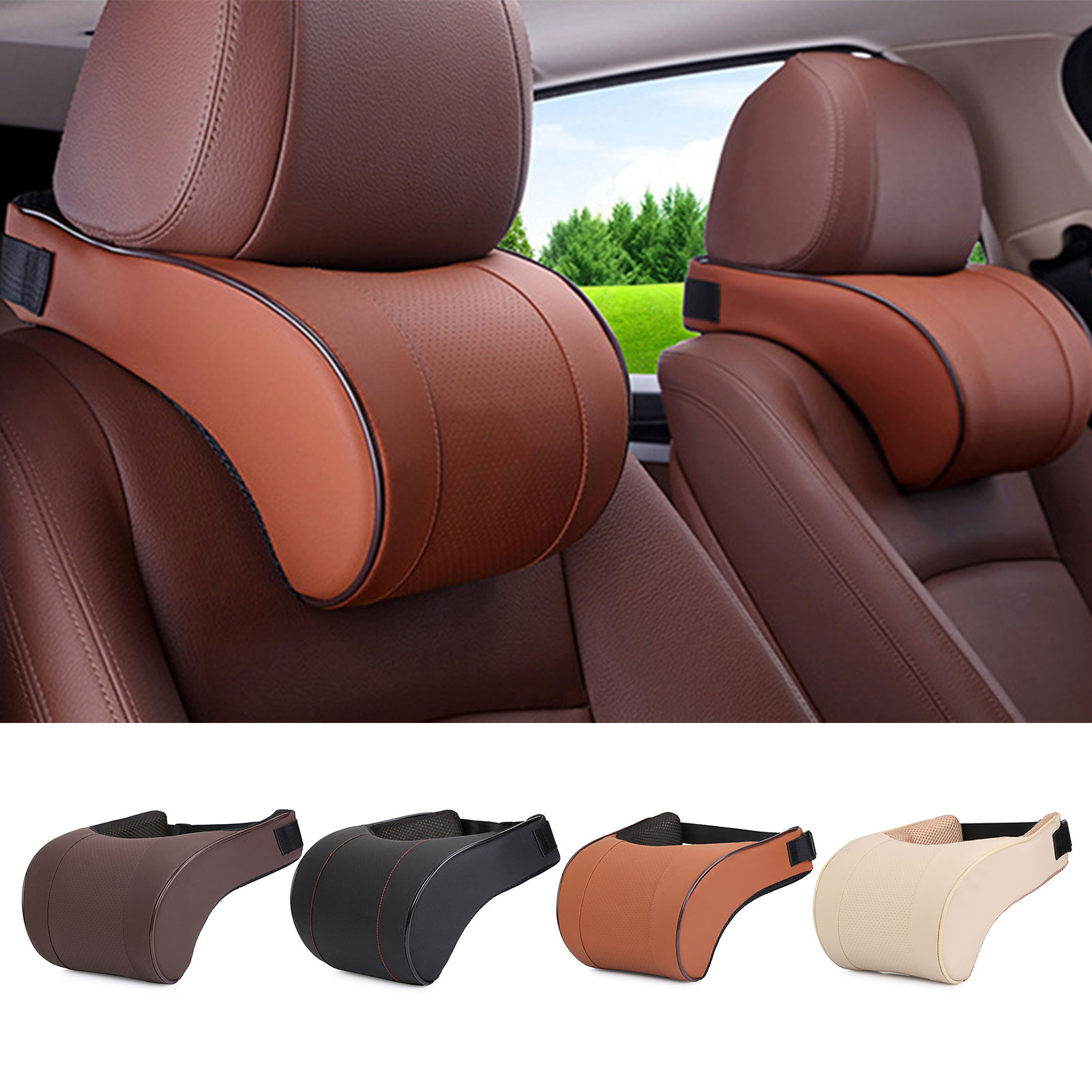Memory Foam Adjustment Car Headrest Pillow PU Leather Auto Neck Rest Lumbar Pillows Travel Car Seat Headrest Cushion