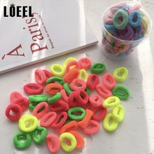 50 pièces/boîte couleur mixte enfants Nylon 2CM Mini bandes de caoutchouc filles base élastique bandes de cheveux élastique pour queue de cheval enfants accessoires de cheveux