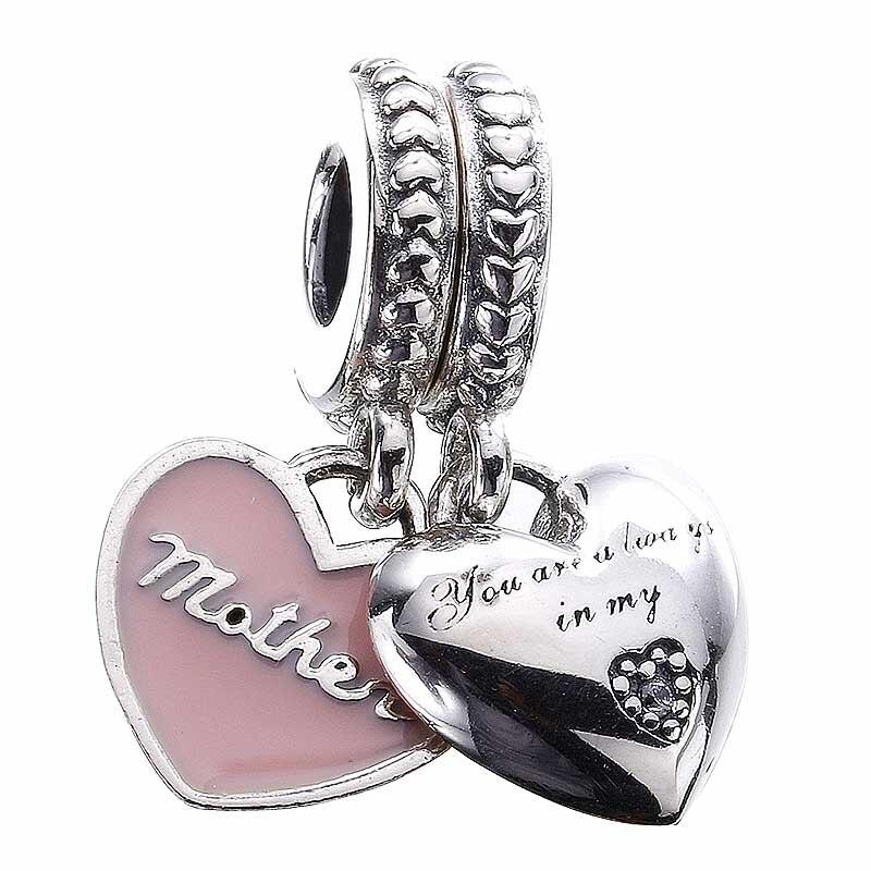 Autêntico 925 prata esterlina grânulo charme mãe e filha corações com pingente de cristal contas caber pandora pulseira diy jóias