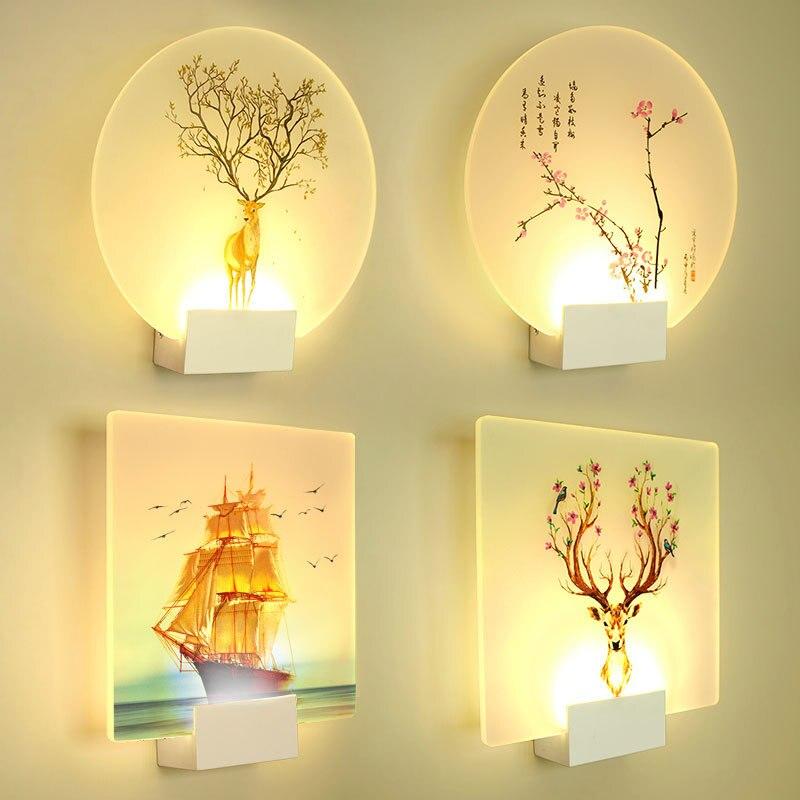 Artpad-مصباح حائط حديث رومانسي مع صورة كلاسيكية ، مصباح جداري نورديك لغرفة النوم ، الدرج ، الممر ، الشرفة ، 8 واط