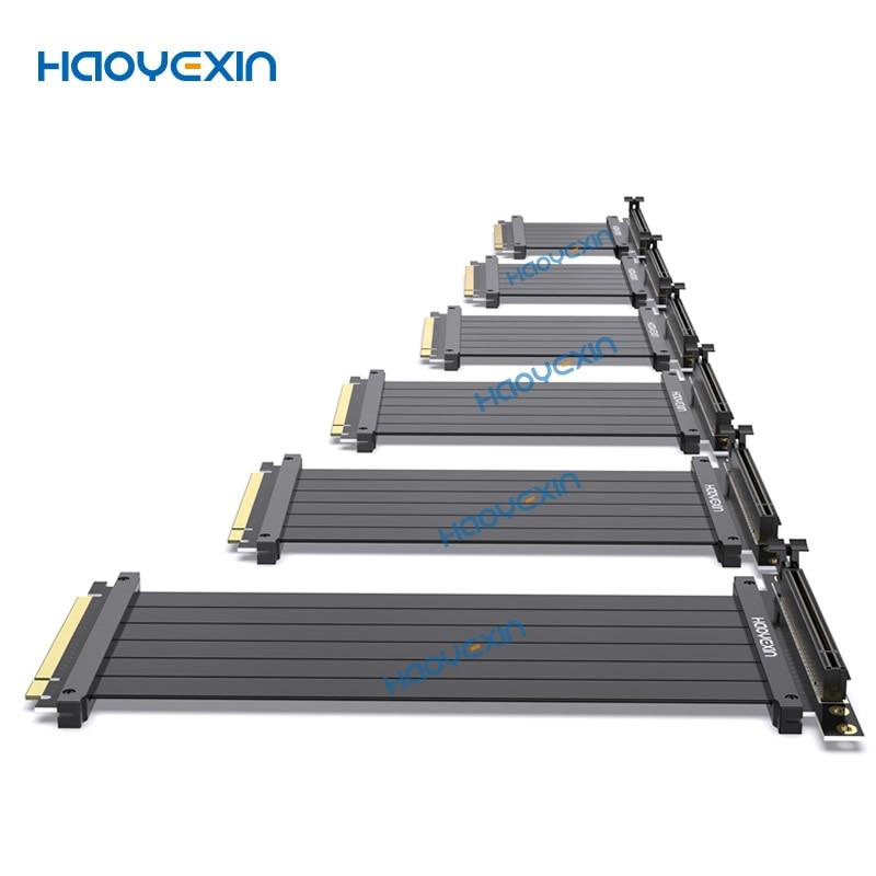 HYX PCIE X16 ارتفاع اكسبرس pcie الناهض 3.0 عالية السرعة 16X مرنة ملحق تمديد كابلات مهايئ منفذ الناهض بطاقات الرسومات موصل
