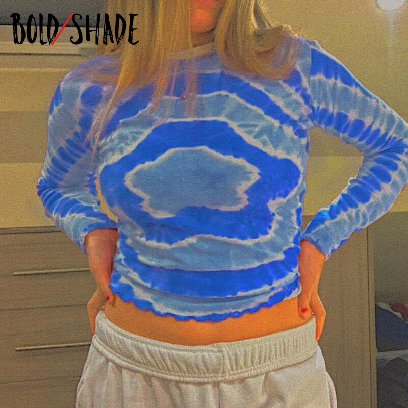 Bold Shade Indie Aesthetic Tie Dye Tee Long Sleeve Printing Crewneck Women Slim Y2K Style T-shirts Navel Sexy Cropped Top Autumn
