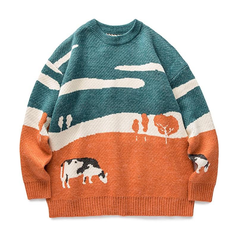 Мужские зимние свитера оверсайз 2021, пуловер, мужские Модные свитера с круглым вырезом в Корейском стиле, повседневные мужские свитера в сти...