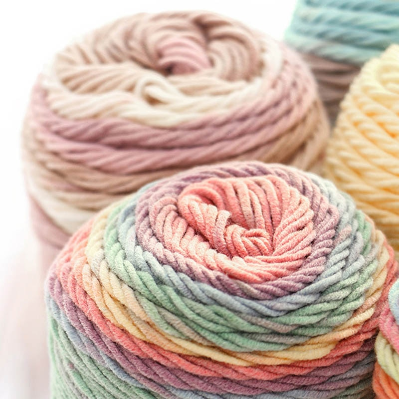 1 Pcs 5 Ply 100g Diy Rainbow Color Hand-woven Crochet Knitting Yarn Skeins Home Washable Crochet Arts Crafts Sewing