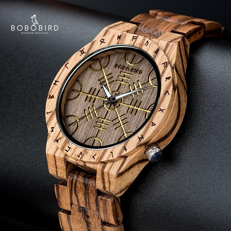 Reloj de pulsera BOBOBIRD Zebra Wood de ébano Golden Helm of Awe para hombre, relojes de pulsera de cuarzo con caja de regalo zegarek meski J-T16
