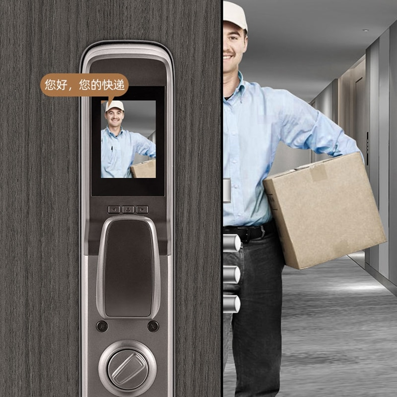 Tuya WiFi Fingerprint Smart Lock IC Card Touch Screen Password Card Key Smart Door Lock With Camera Built-In