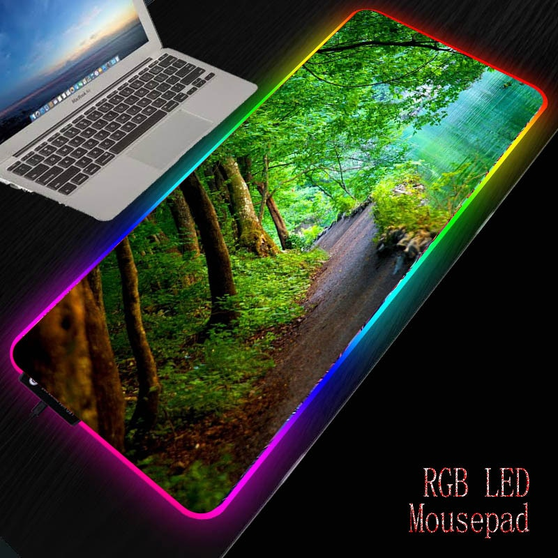 Mairuige, paisaje de árbol RGB LED, alfombrilla grande para ratón, iluminación con cable USB, alfombra para ratón teclado colorido luminoso para ratón PC