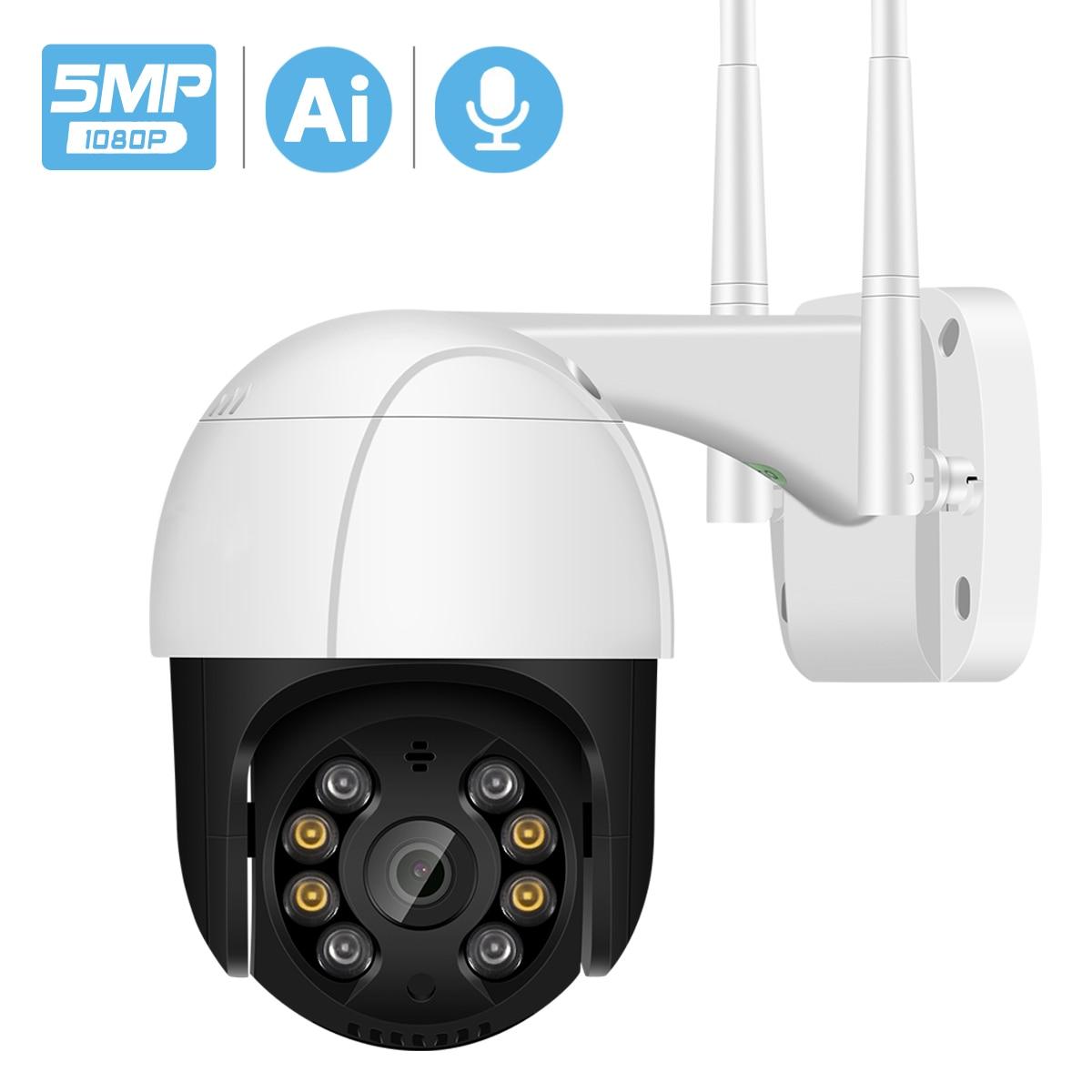 5MP H.265 + تتبع السيارات PTZ واي فاي كاميرا IP في الهواء الطلق 1080P HD 3MP واي فاي كاميرا لاسلكية الصوت AI الإنسان كشف الأمن كاميرا تلفزيونات الدوائر الم...