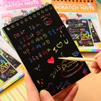 10 Pages 1 Book Colorful Dazzle Scratch Note DIY Sketchbook Paper Graffiti Coils Drawing Book Baby Drawing Toy Color Random