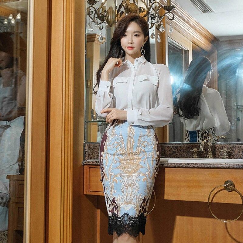 2020 جديد الأبيض الشيفون قميص و طباعة الأزهار الدانتيل خليط ميدي تنورة امرأة 2 قطعة مجموعة الصيف عارضة اثنين من قطعة مجموعة للسيدات